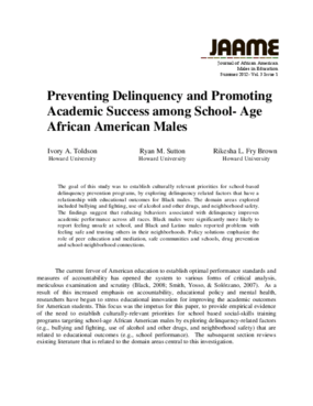 Preventing Delinquency and Promoting Academic Success among School-Age African American Males