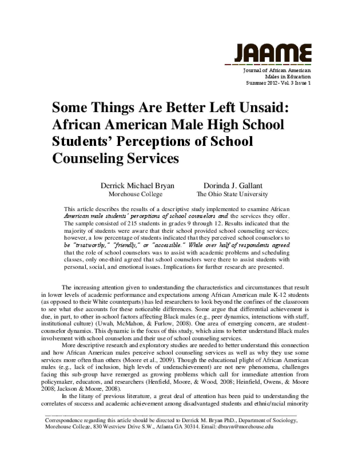 Some Things Are Better Left Unsaid: African American Male High School Students' Perceptions of School Counseling Services