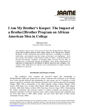 I Am My Brother's Keeper: the Impact of a Brother2Brother Program on African American Men in College