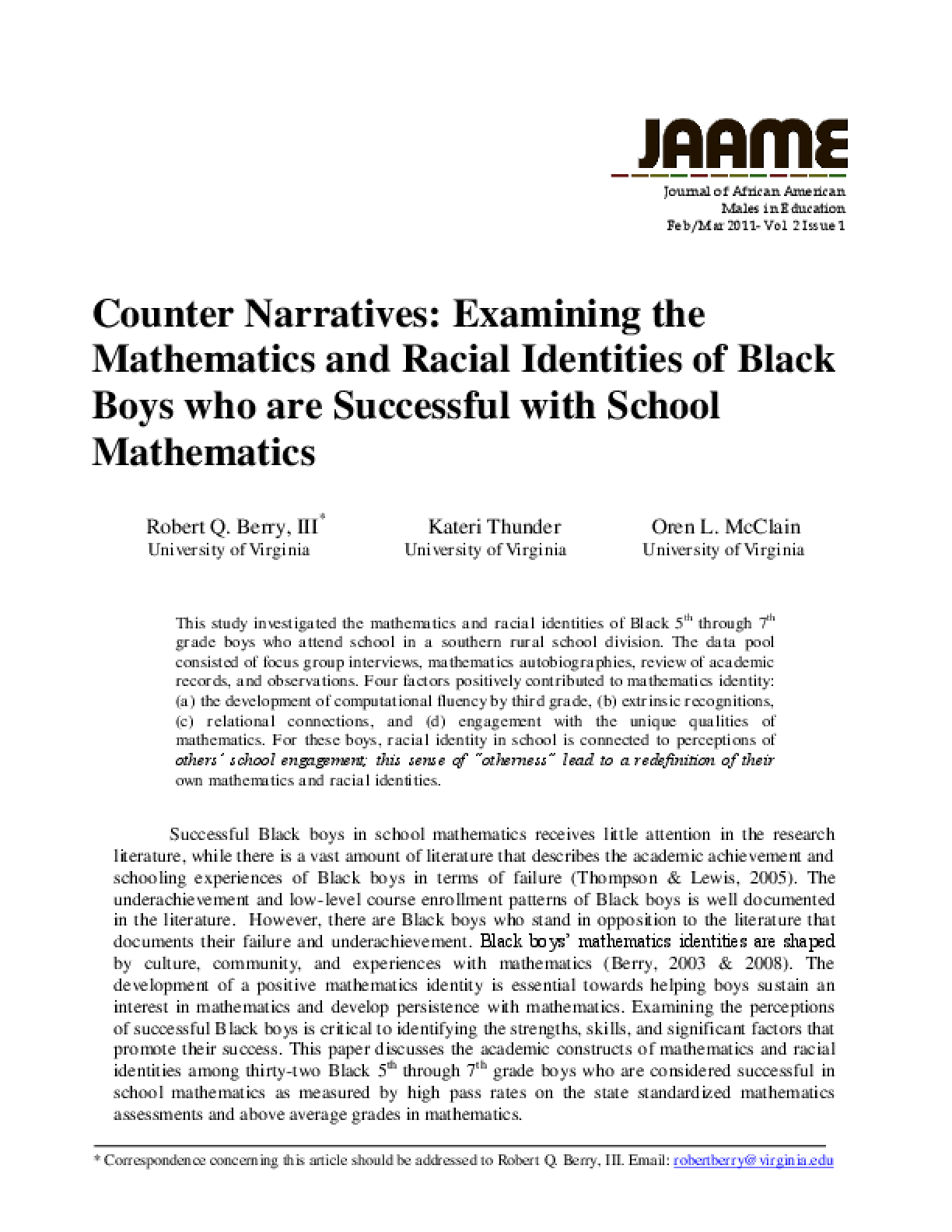Counter Narratives: Examining the Mathematics and Racial Identities of Black Boys who are Successful with School Mathematics