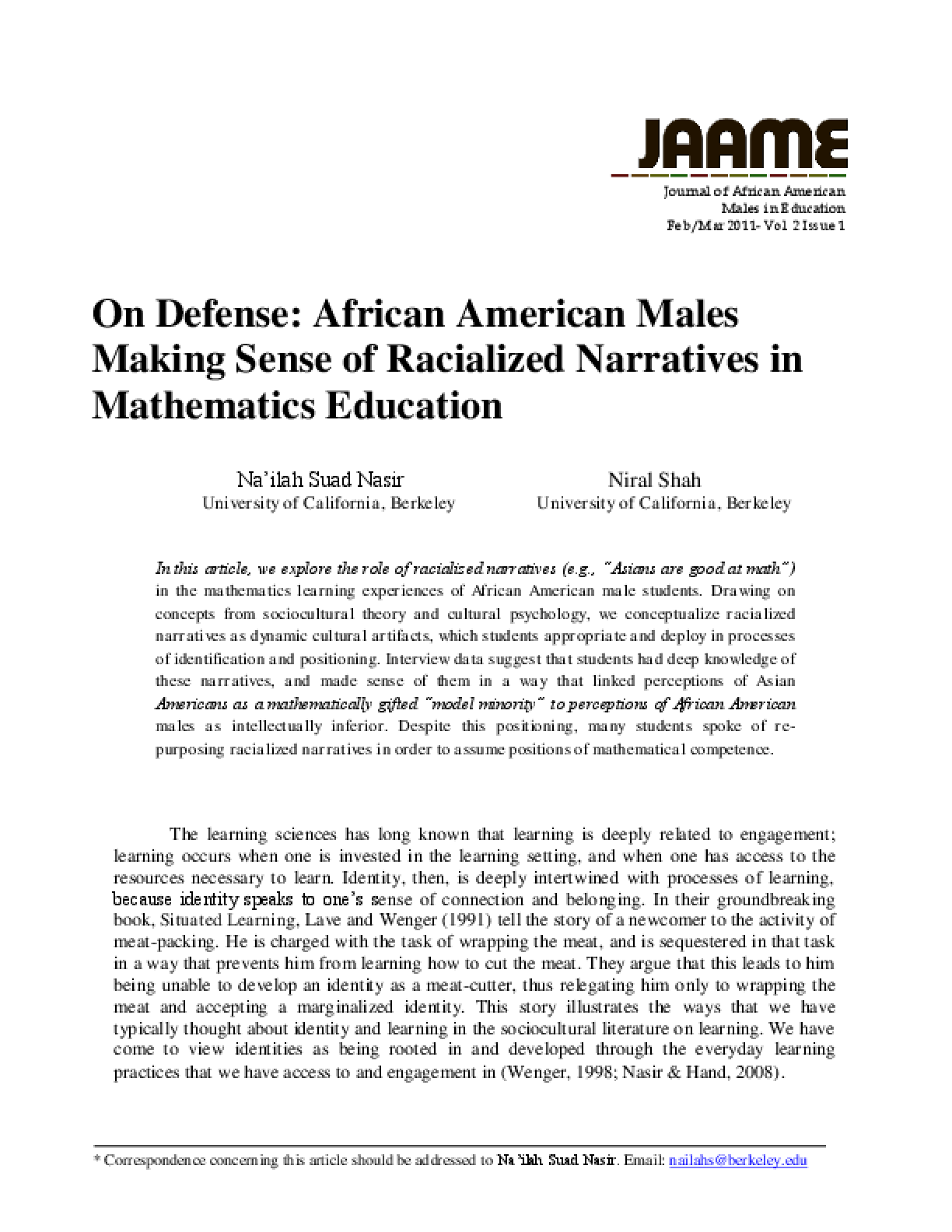 Making Sense Of African American >> On Defense African American Males Making Sense Of