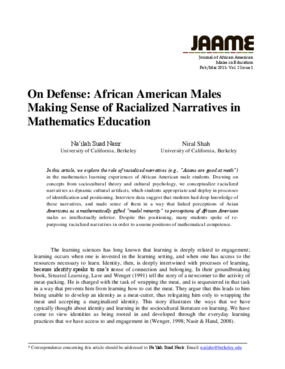 On Defense: African American Males Making Sense of Racialized Narratives in Mathematics Education