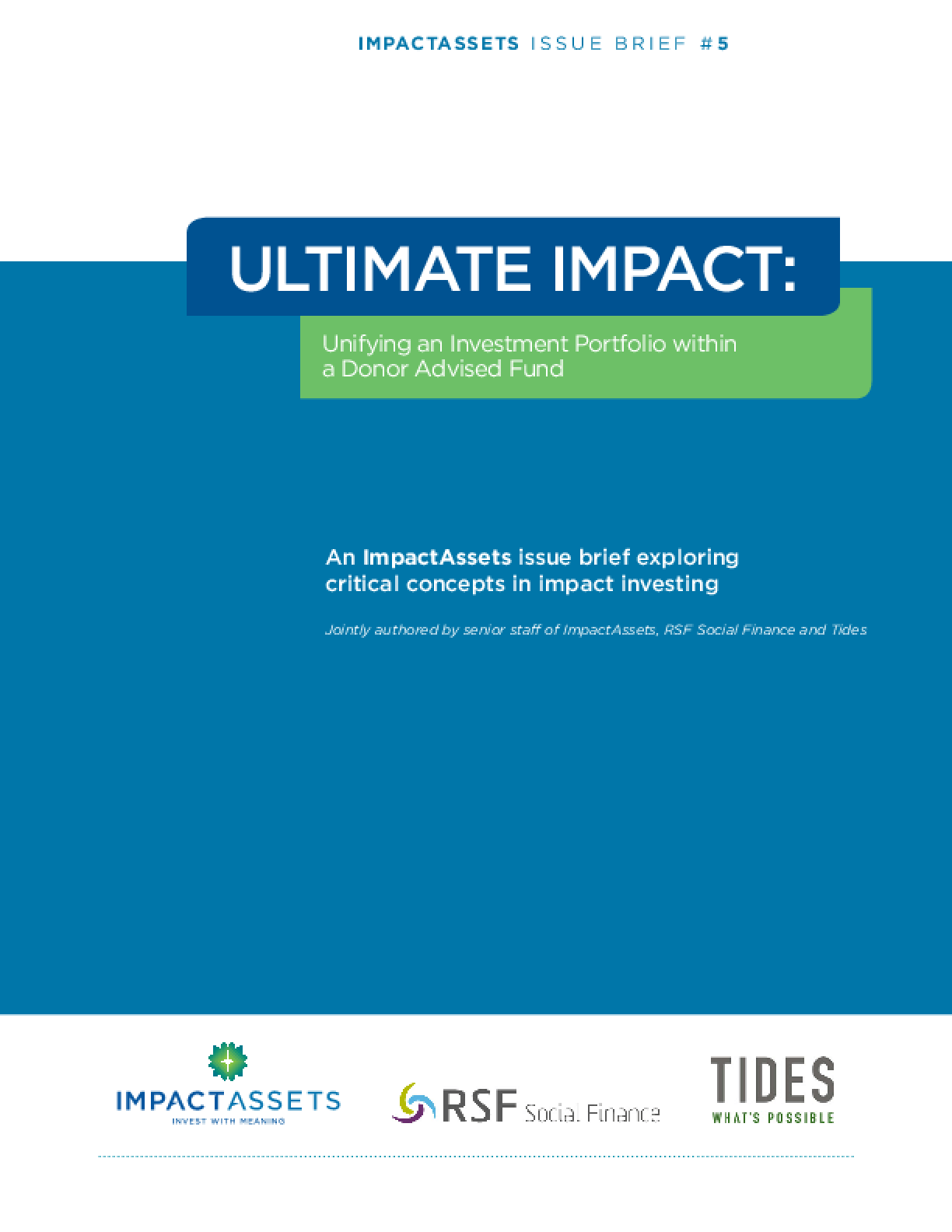 Ultimate Impact: Unifying an Investment Portfolio within a Donor Advised Fund