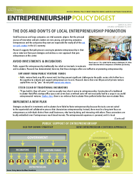 The Dos and Don'ts of Local Entrepreneurship Promotion