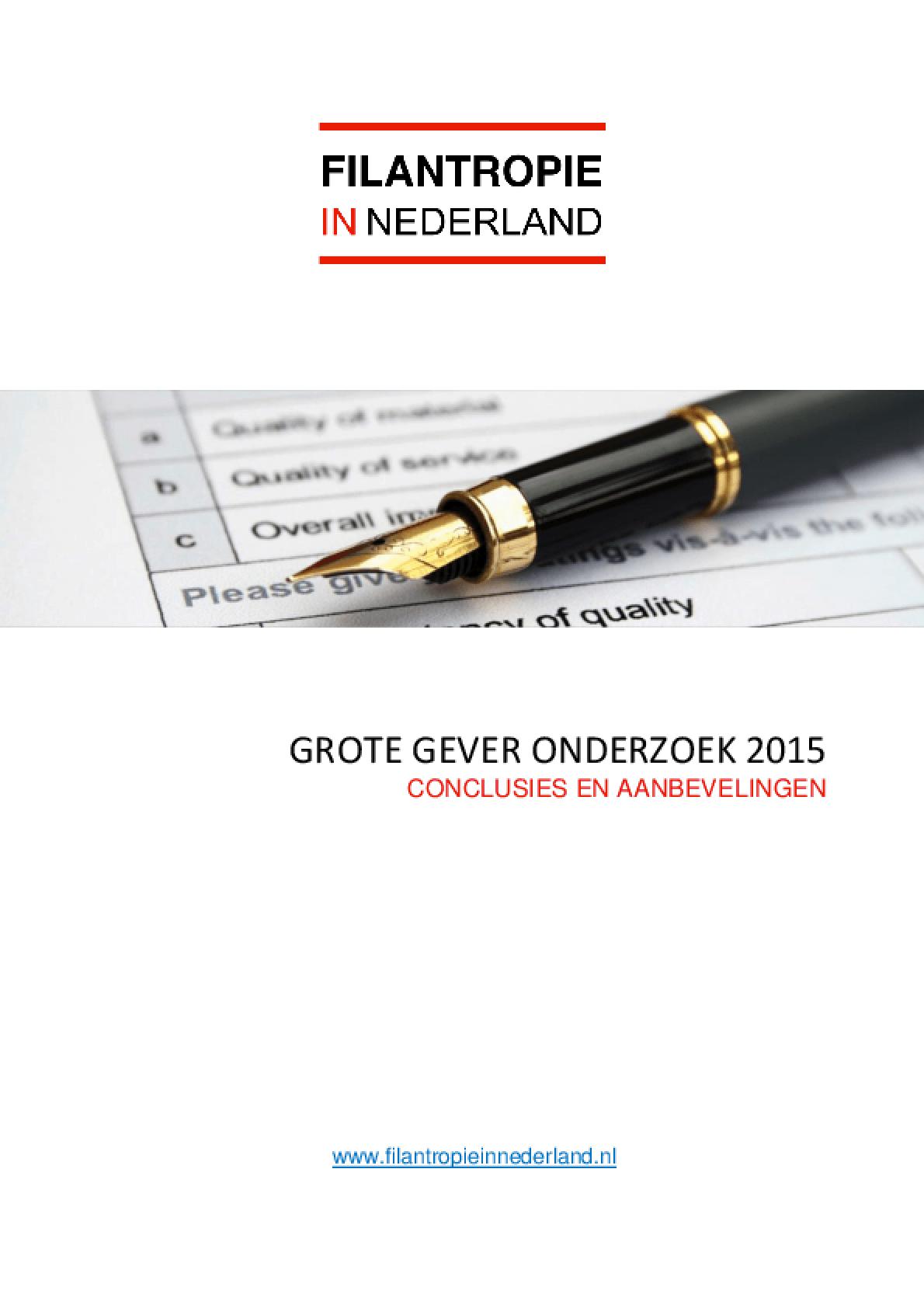 Filantropie in Nederland : Grote Gever Onderzoek 2015