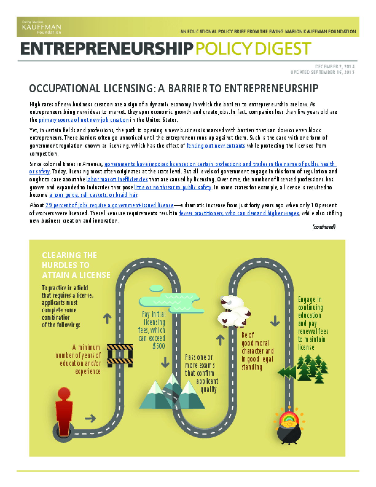 Occupational Licensing: A Barrier To Entrepreneurship