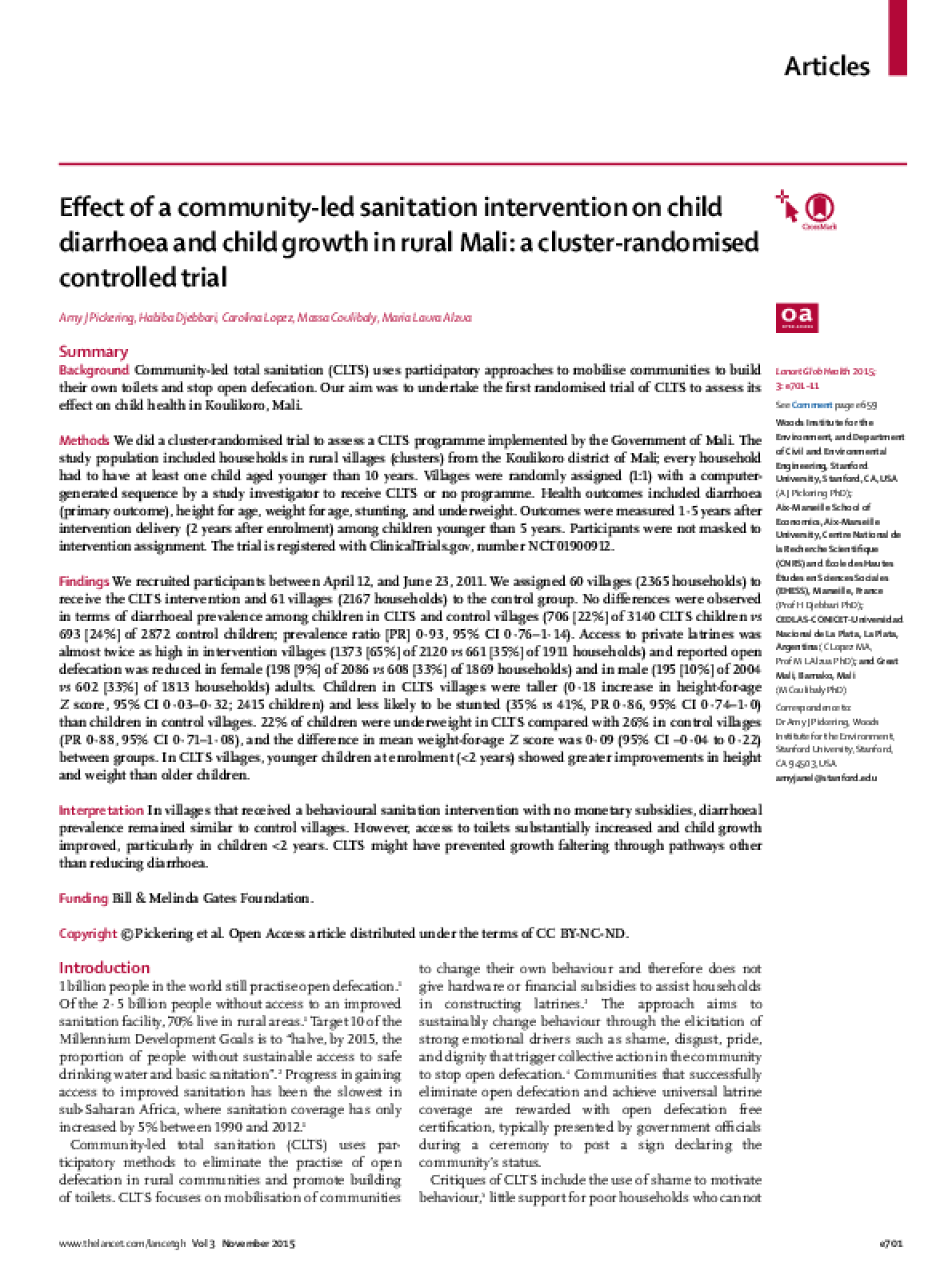 Effect of a Community-Led Sanitation Intervention on Child Diarrhoea and Child Growth in Rural Mali: a Cluster-Randomised Controlled Trial