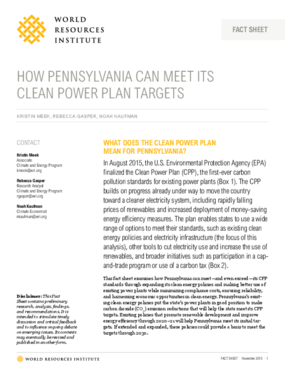 How Pennsylvania Can Meet Its Clean Power Plan Targets