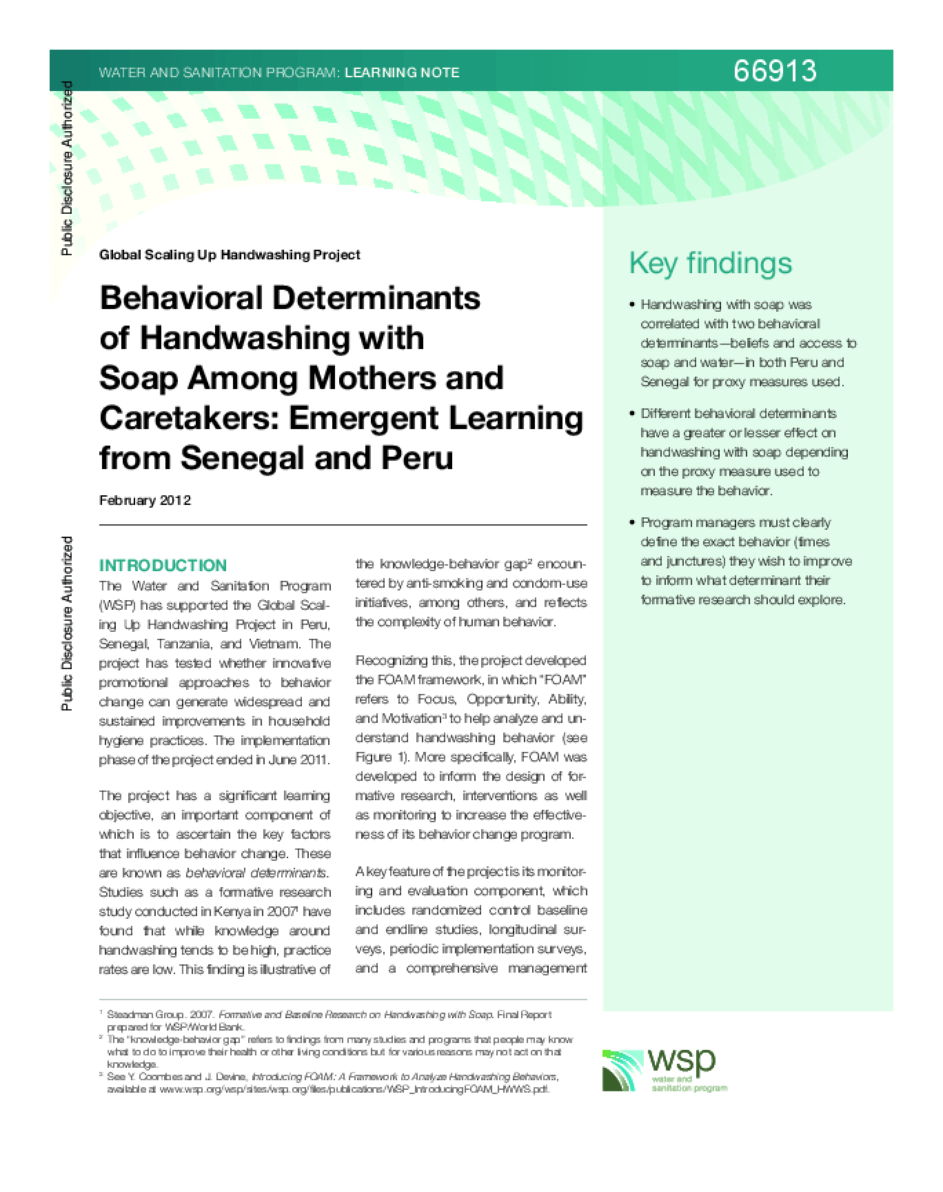 Behavioral Determinants of Handwashing with Soap Among Mothers and Caretakers: Emergent Learning from Senegal and Peru