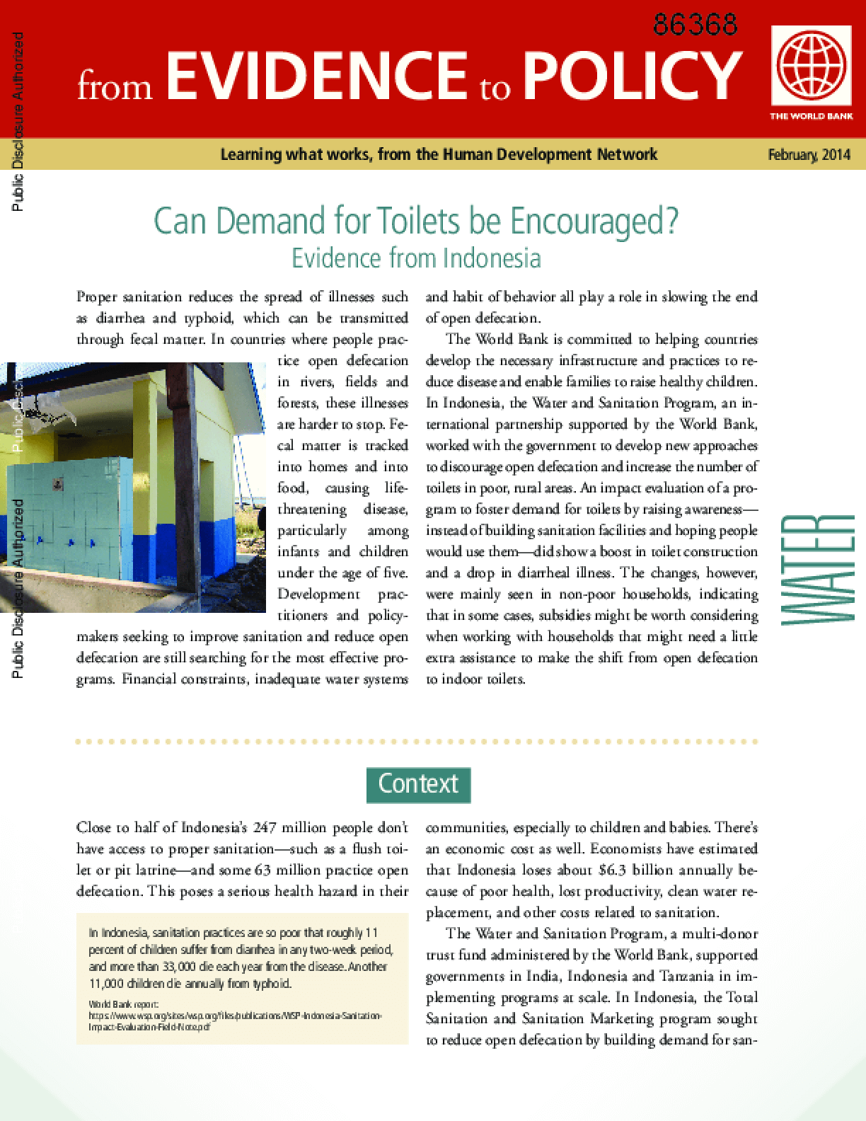 Can Demand for Toilets Be Encouraged? Evidence from Indonesia