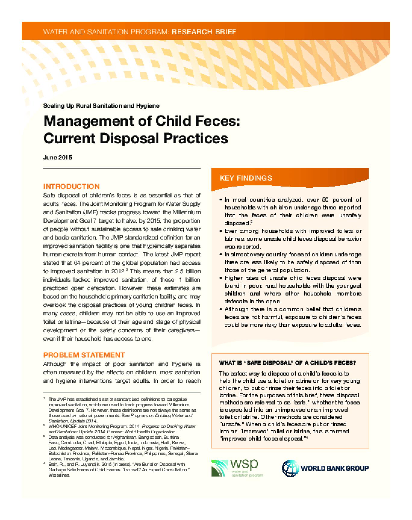 Management of Child Feces: Current Disposal Practices