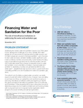 Financing Water and Sanitation for the Poor