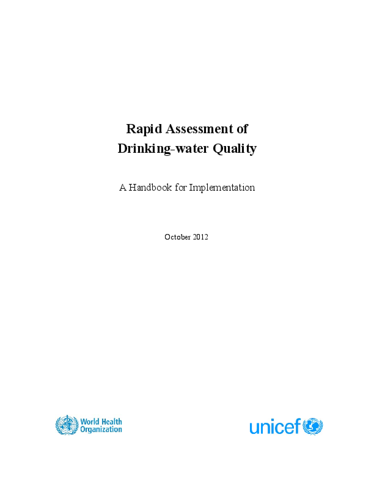 Rapid Assessment of Drinking-water Quality: A Handbook for Implementation