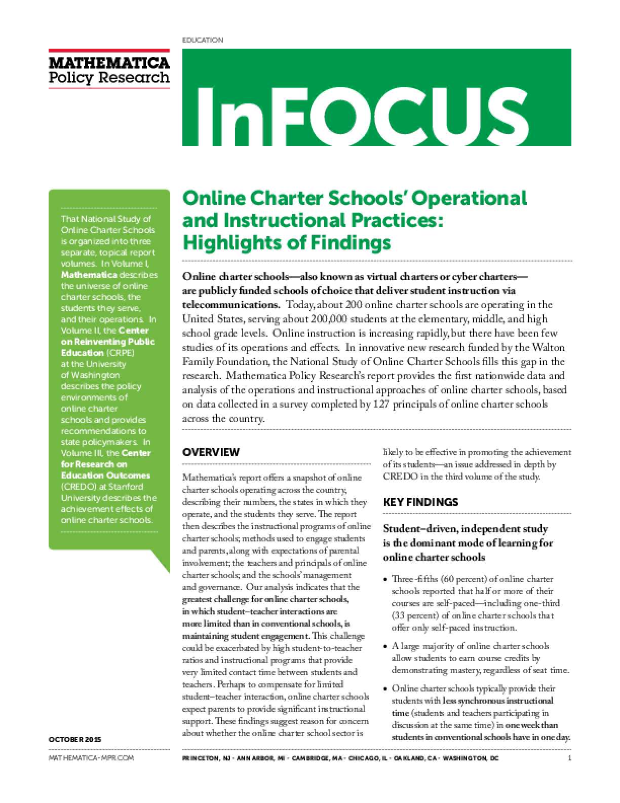 Education Research Highlights From 2015 >> Online Charter Schools Operational And Instructional