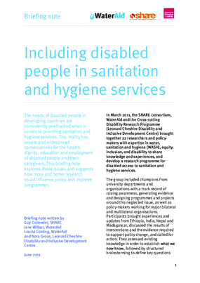Including Disabled People in Sanitation and Hygiene Services