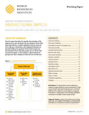 Aqueduct Metadata Document, Aqueduct Global Maps 2.0
