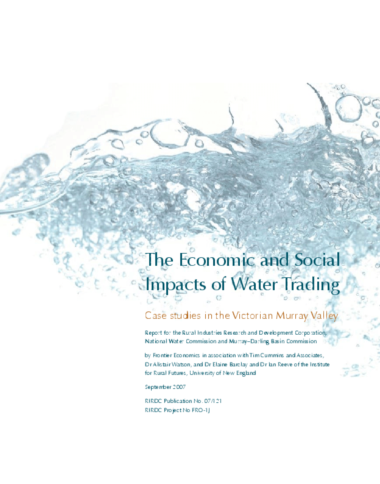 The Economic and Social Impacts of Water Trading: Case Studies in the Victorian Murray Valley