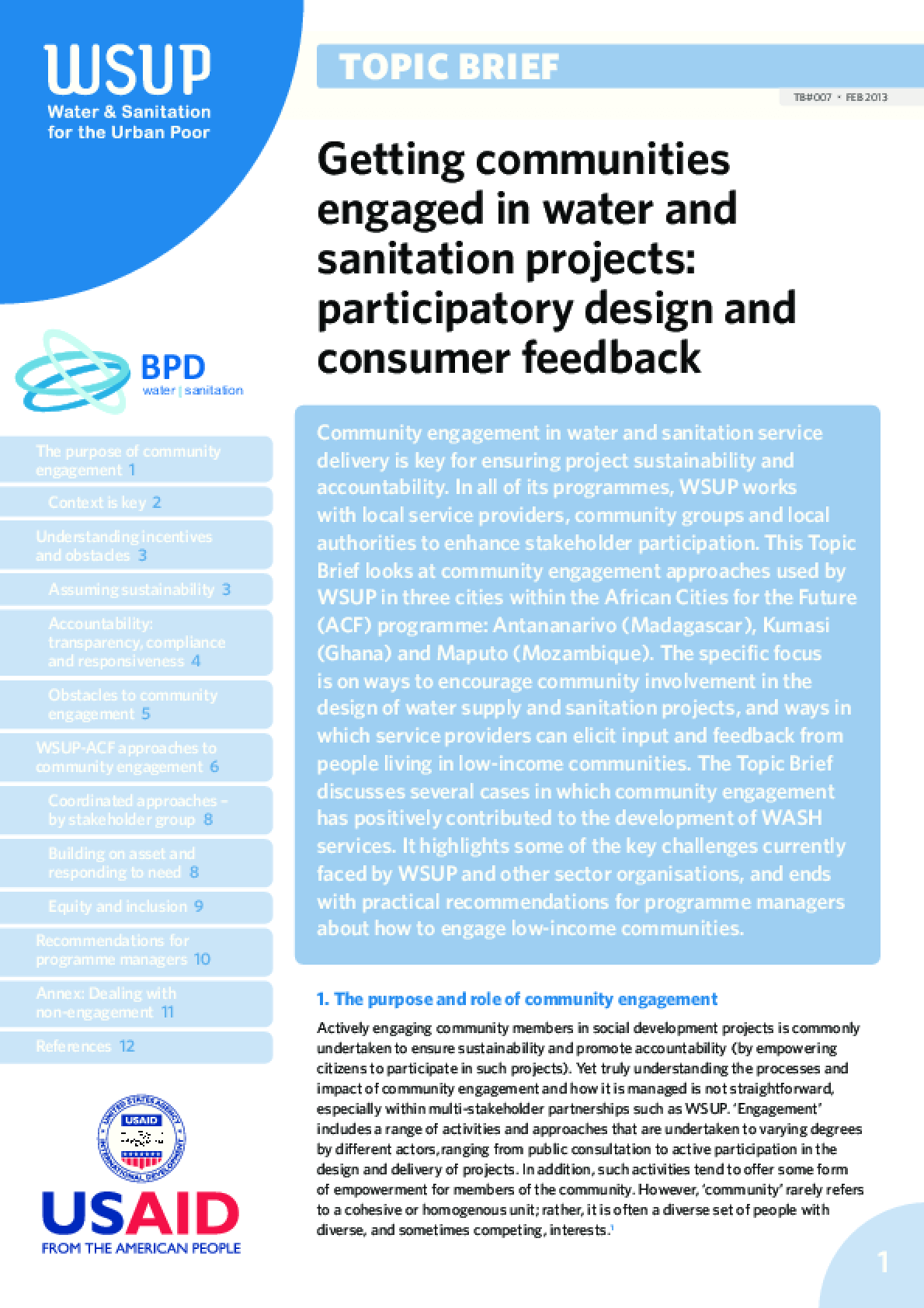 Getting Communities Engaged in Water and Sanitation Projects: Participatory Design and Consumer Feedback