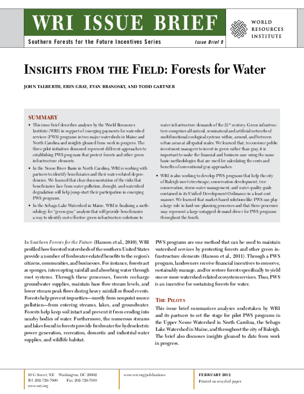 Insights from the Field: Forests for Water