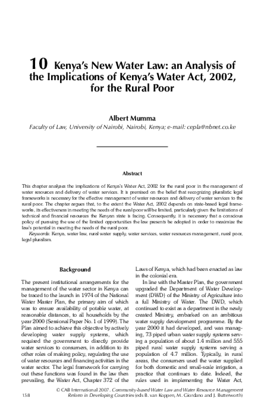 Kenya's New Water Law: An Analysis of the Implications of Kenya's Water Act, 2002, for the Rural Poor