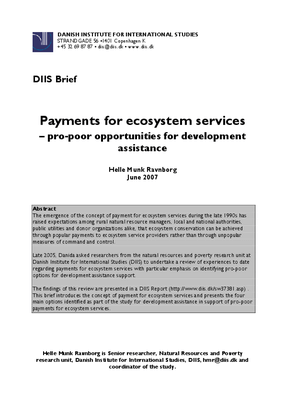 Payments for Ecosystem Services - Issues and Pro-Poor Opportunities for Development Assistance