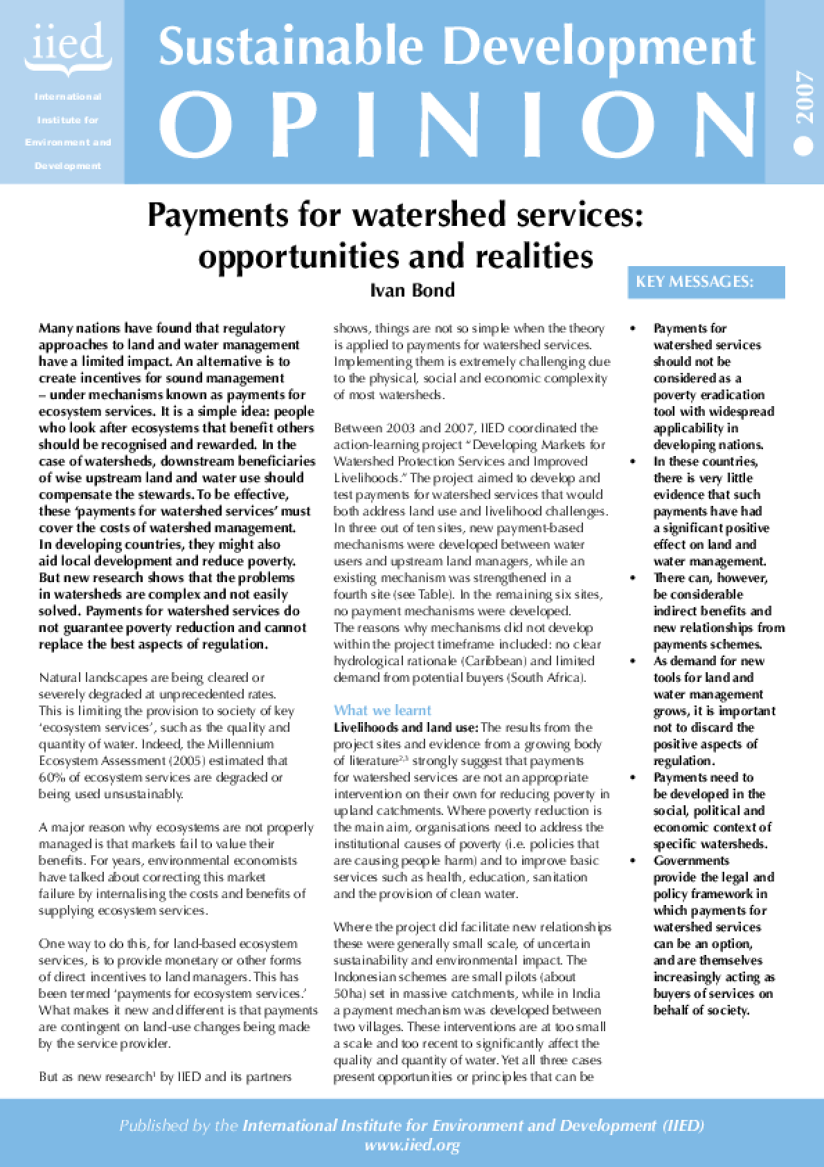 Payment for Watershed Services: Opportunities and Realities