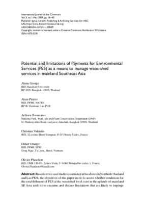 Potential and Limitations of Payments for Environmental Services (PES) As A Means to Manage Watershed Services in Mainland Southeast Asia