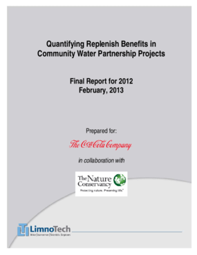 Quantifying Replenish Benefits in Community Water Partnership Projects, Final Report for 2012