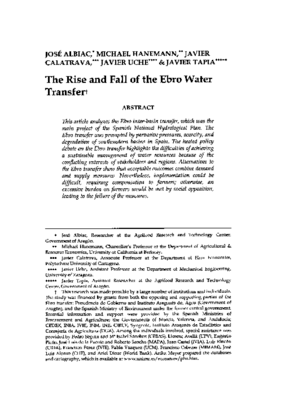 The Rise and Fall of the Ebro Water Transfer