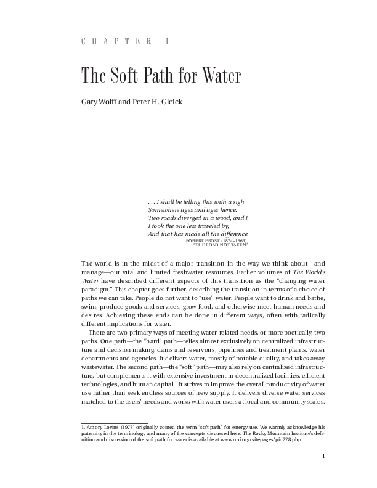 The Soft Path for Water