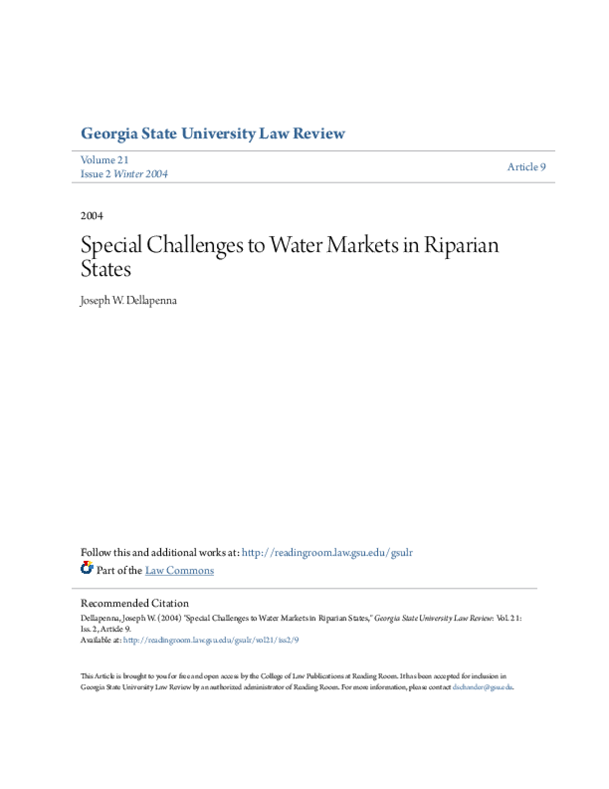 Special Challenges to Water Markets in Riparian States