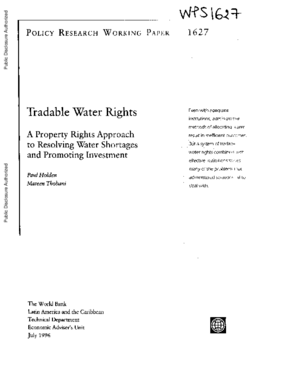 Tradable Water Rights: A Property Rights Approach to Improving Water Use and Promoting Investment