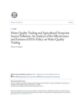 Water Quality Trading and Agricultural Nonpoint Source Pollution: An Analysis of the Effectiveness and Fairness of EPA's Policy on Water Quality Trading