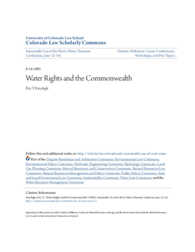 Water Rights and the Commonwealth