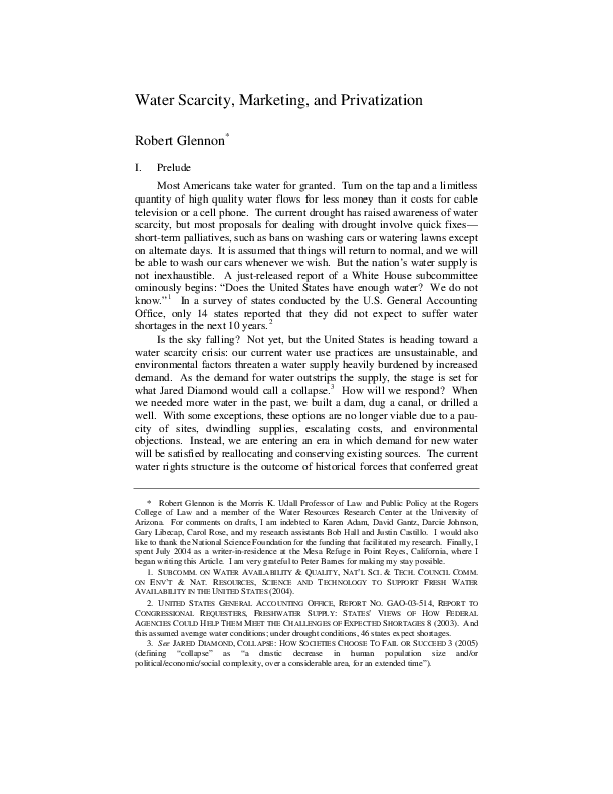 Water Scarcity, Marketing, and Privatization