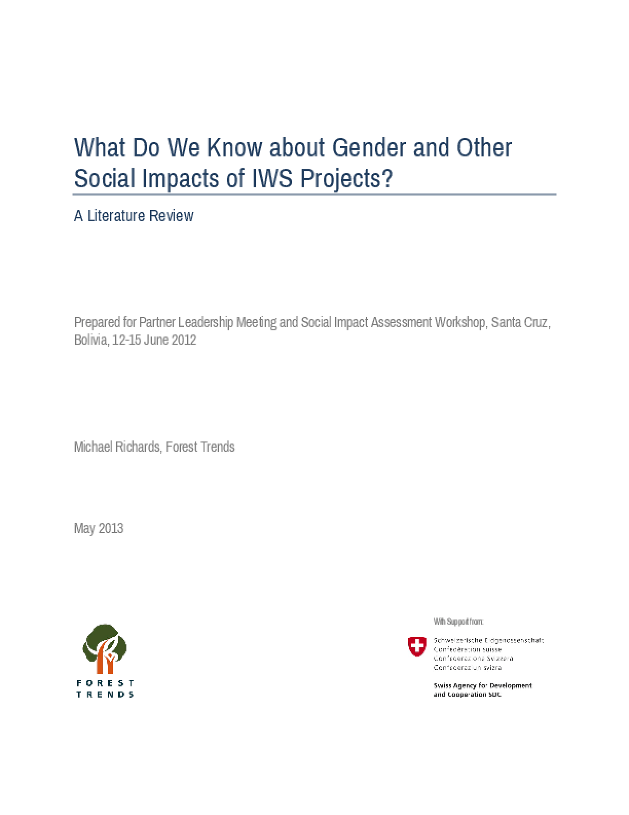 What Do We Know about Gender and Other Social Impacts of IWS Projects?: A Literature Review