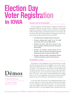 Election Day Voter Registration in Iowa
