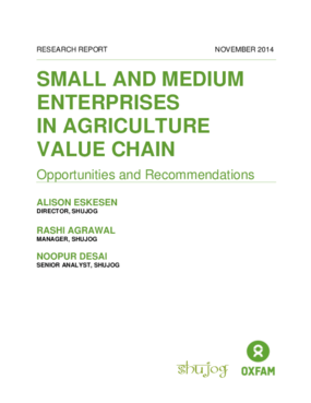 Small and Medium Enterprises in the Agriculture Value Chain: Opportunities and Recommendations