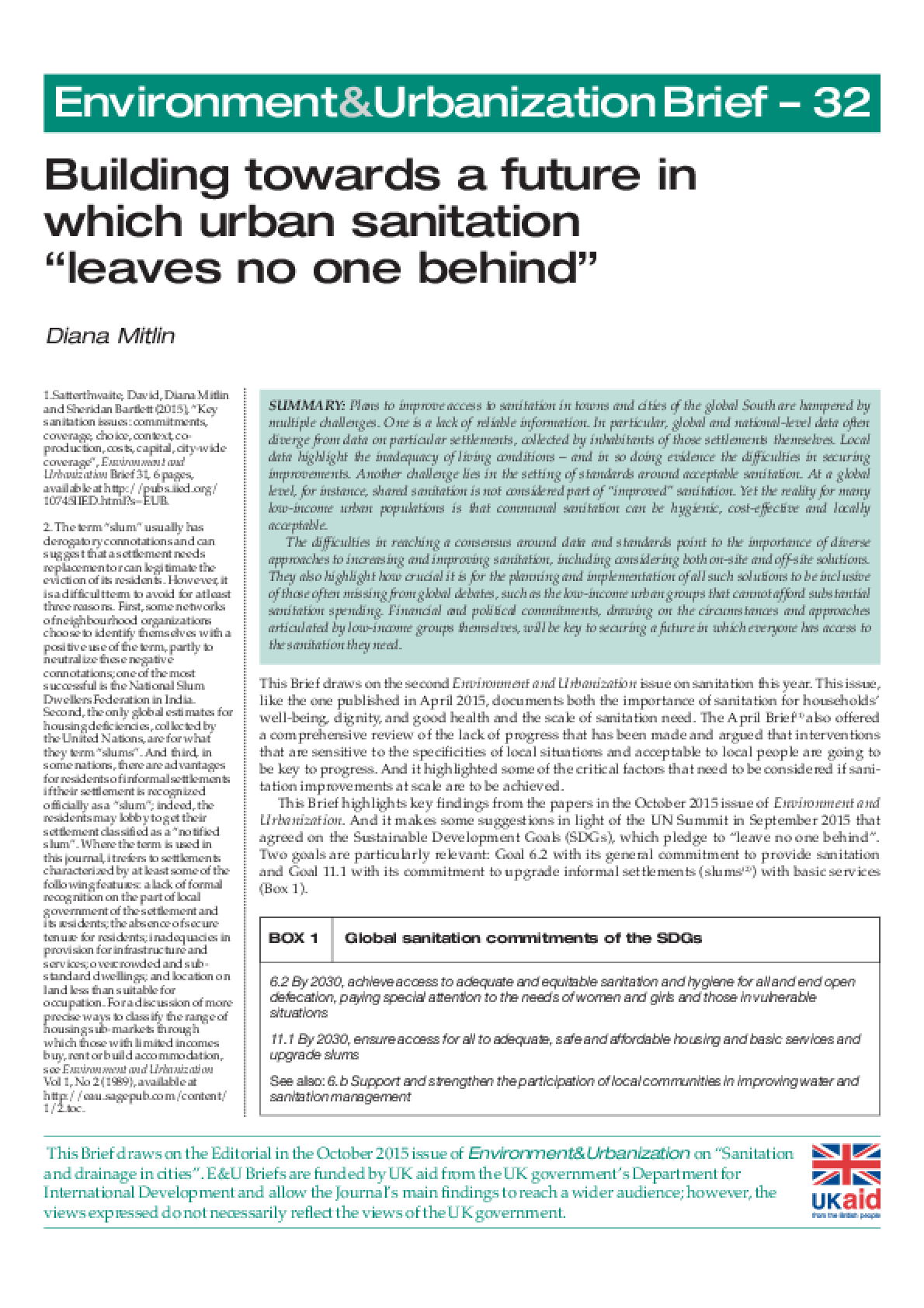 Building Towards a Future in Which Urban Sanitation Leaves No One Behind