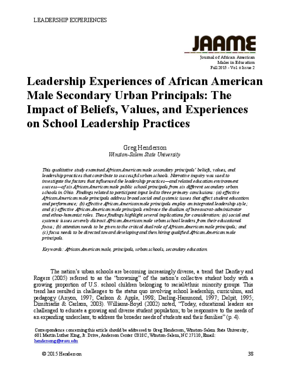 journal of african american males in education leadership experiences of african american male secondary urban principals the impact of beliefs values and experiences on school leadership practices