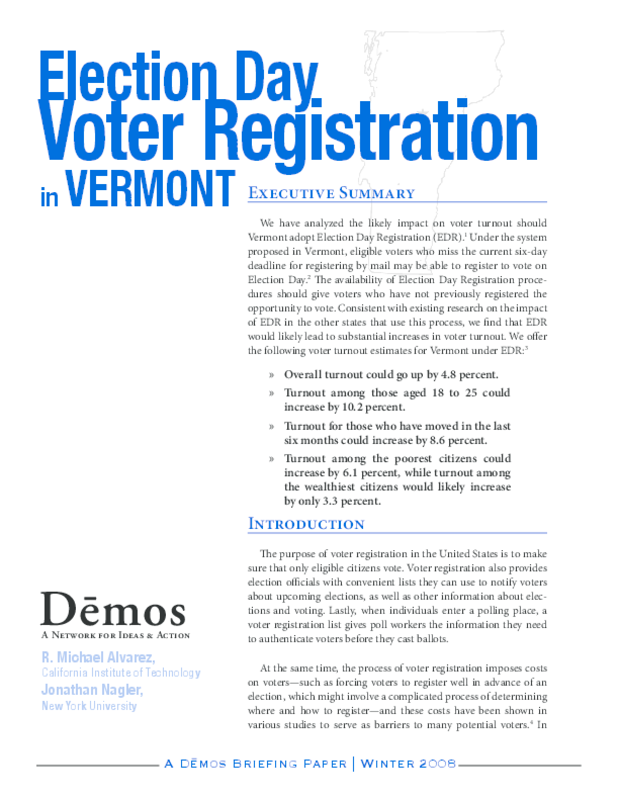Election Day Voter Registration in Vermont