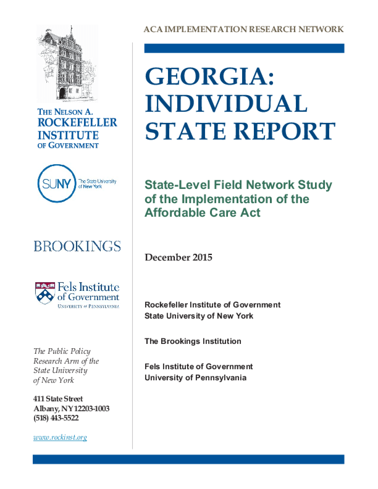 Georgia: Individual State Report - State-level Field Network Study of the Implementation of the Affordable Care Act