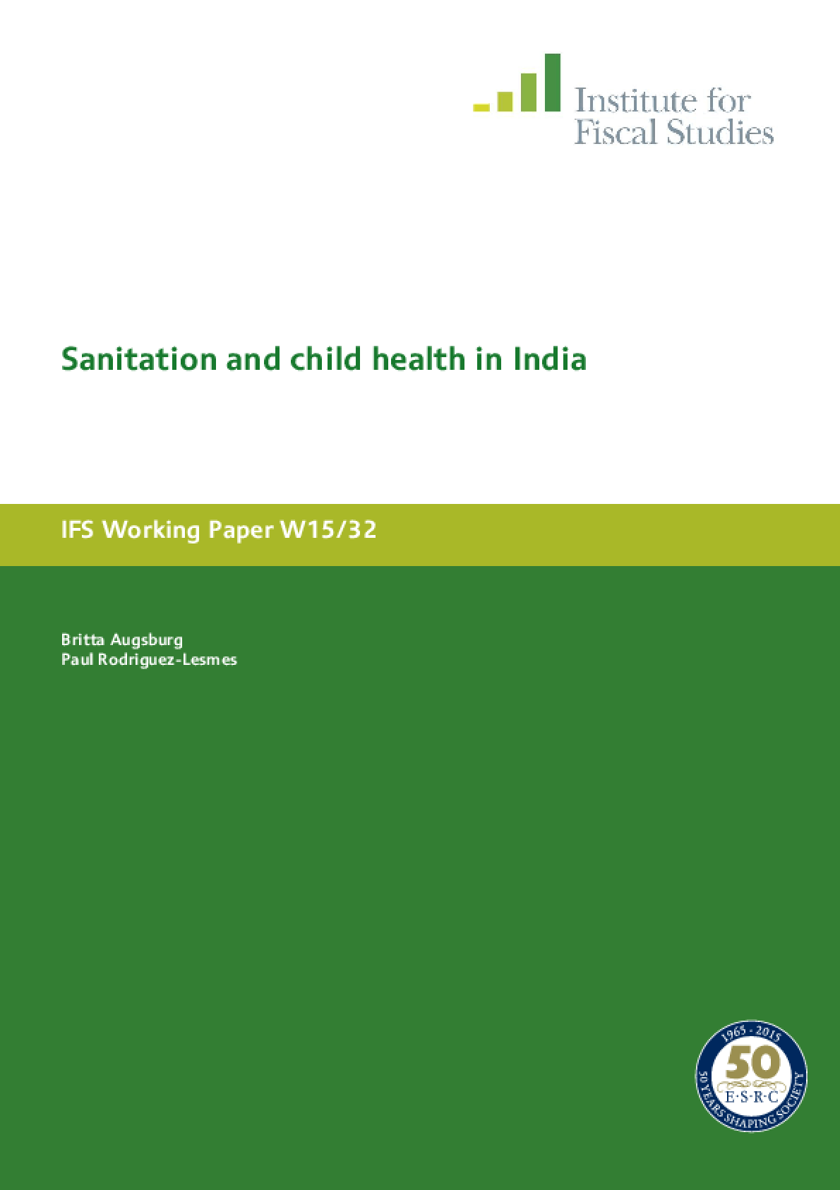 Sanitation and Child Health in India