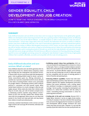 Gender Equality, Child Development and Job Creation: How to Reap the 'Triple Dividend' From Early Childhood Education and Care Services