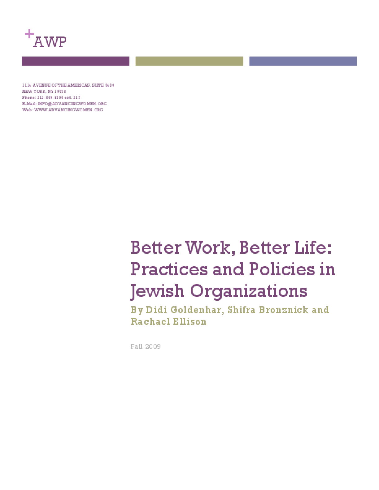 Better Work, Better Life: Practices and Policies in Jewish Organizations