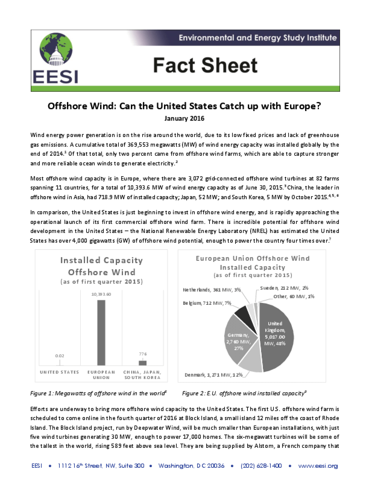 Fact Sheet: Offshore Wind - Can the United States Catch up with Europe?