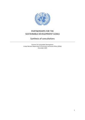 Partnerships for the Sustainable Development Goals: Synthesis of Consultations