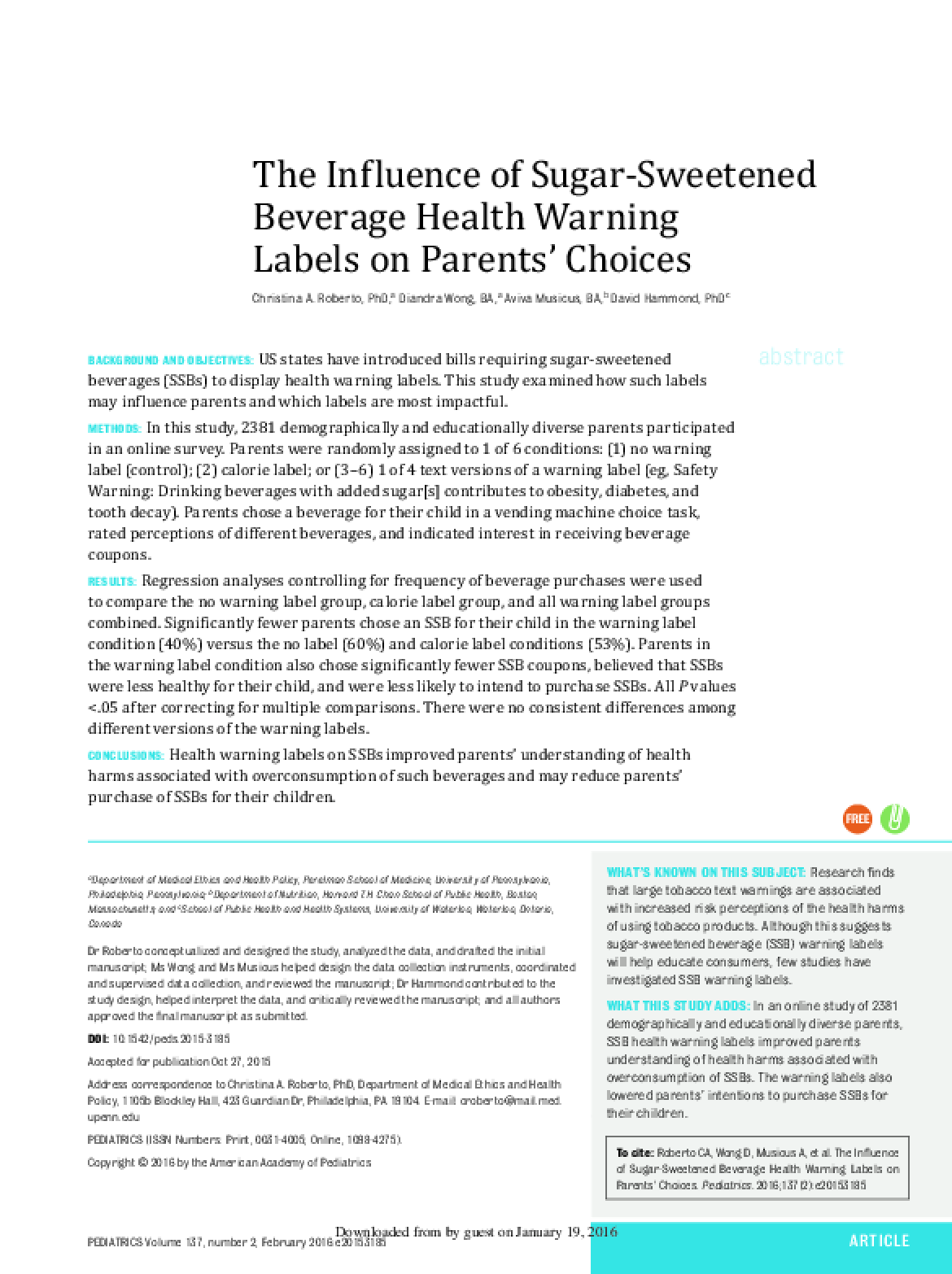 The Influence of Sugar-Sweetened Beverage Health Warning Labels on Parents' Choices