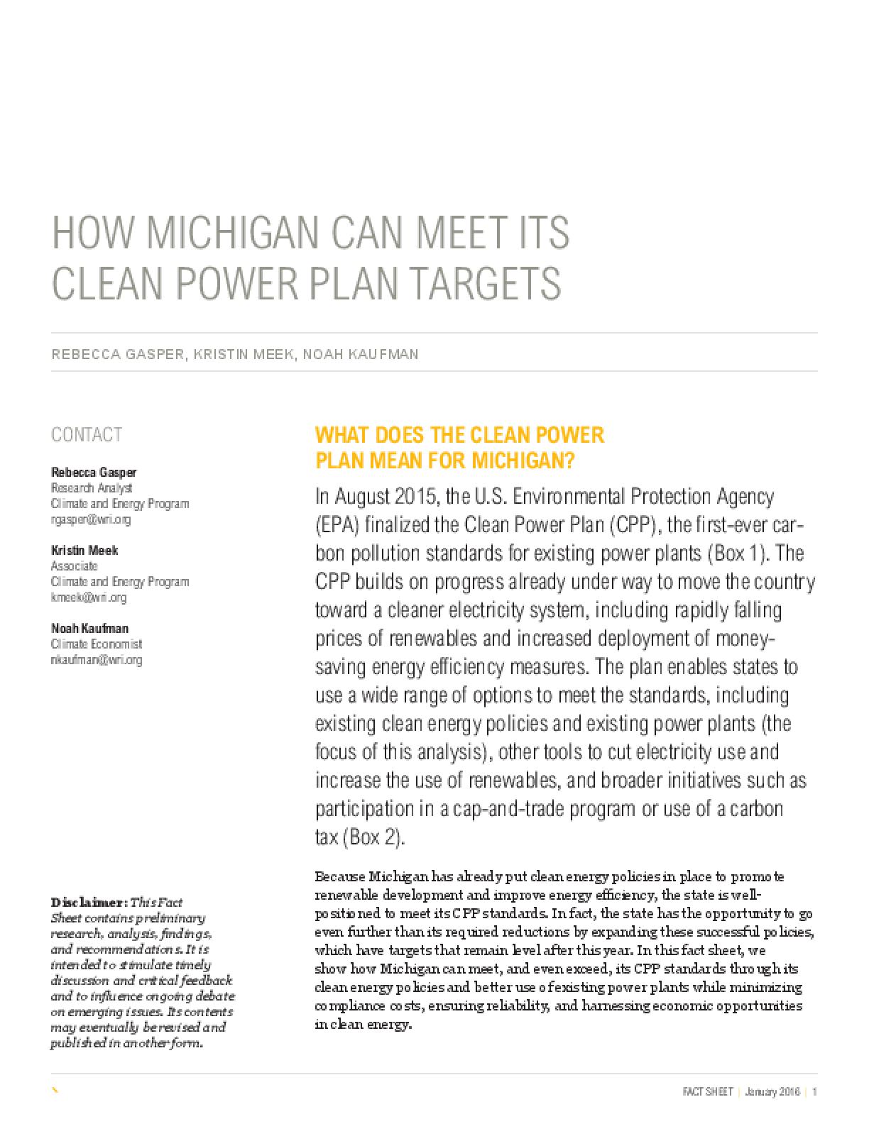 How Michigan Can Meet Its Clean Power Plan Targets