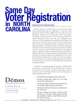 Same Day Voter Registration in North Carolina